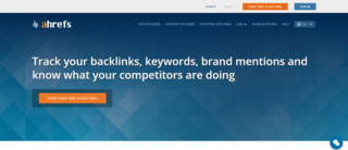 Ahrefs SEO backlink tracking home page