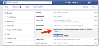 enable facebook messages under settings
