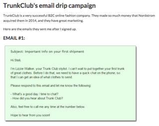 TrunkClubs email drip campaign example