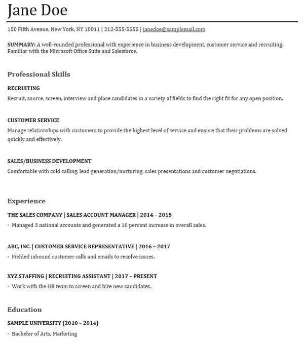 Examples Of A Functional Resume