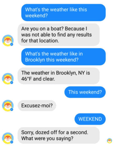 chat window of a chatbot