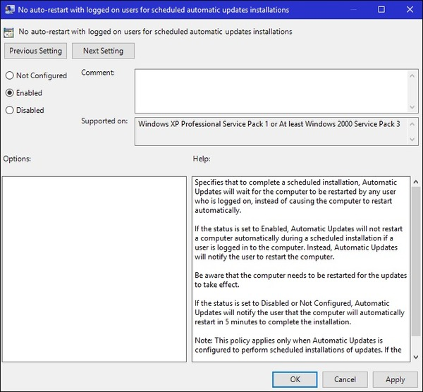 windows 10 disable windows updates group policy