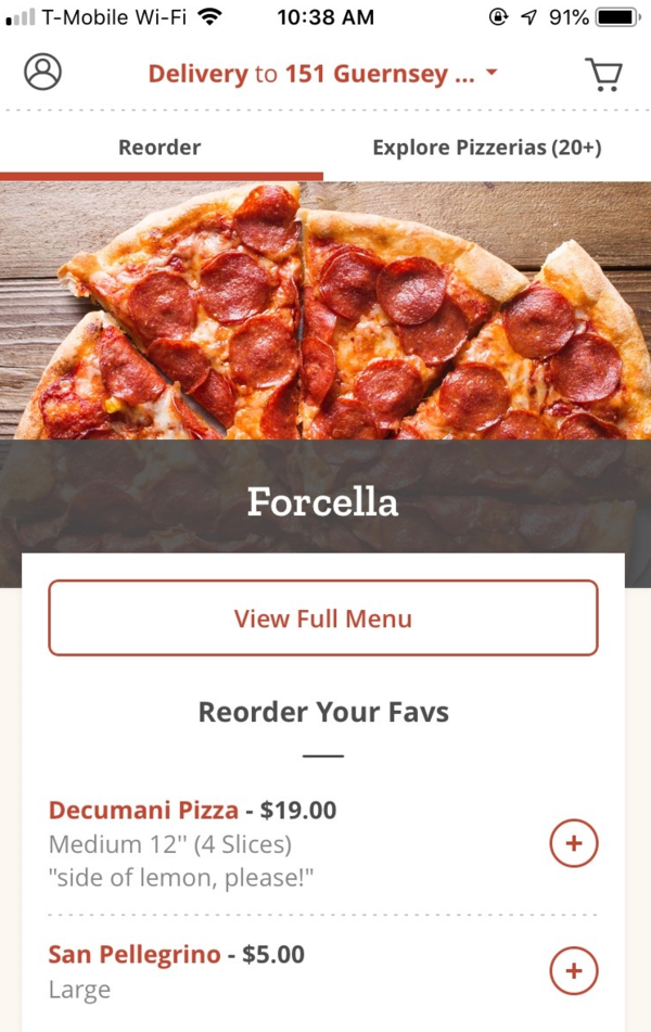 Slice prioritizes customer retention by featuring reorder options on its app. This helps pizzerias build their customer base and allows customers to integrate a convenient tool into their weekly pizza night.
