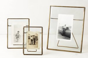 Pressed glass photo frames, office decor