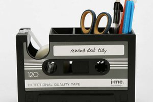 Cassette tape desk organizer, office decor