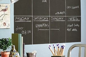 Chalkboard wall panels, office decor