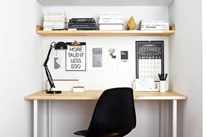 Black and white home office, home office decor, home office decor