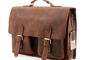 Kattee Handmade Leather Laptop Briefcase