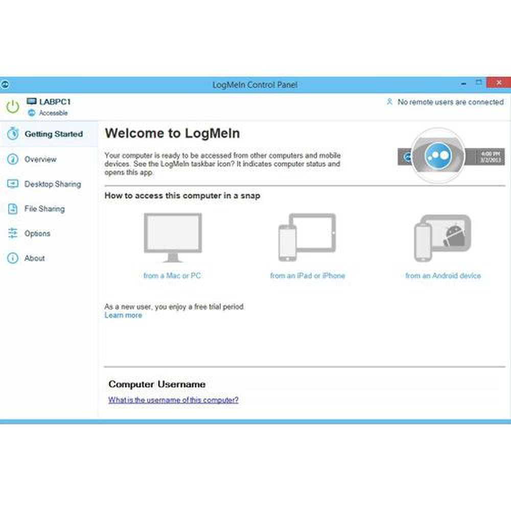 The LogMeIn control panel offers helpful information and serves as a platform where you can share files, adjust settings and share your desktop.