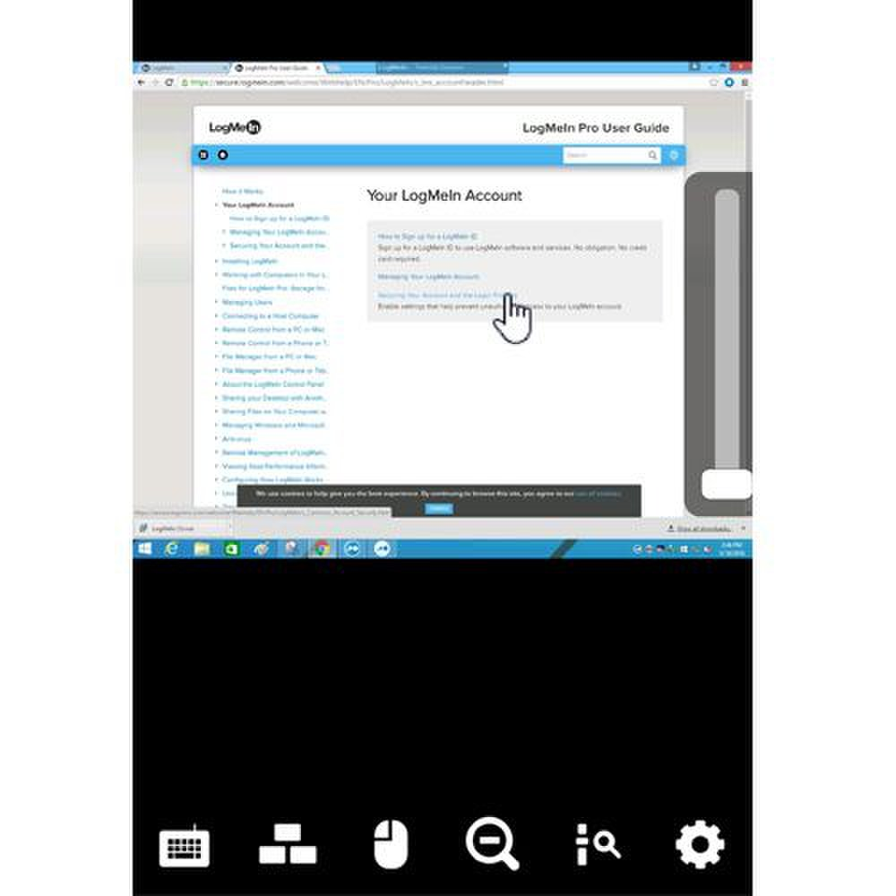 LogMeIn image: The mobile version of the program uses a different interface.
