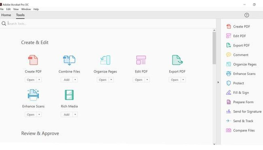 Adobe Acrobat image: The Tool tab contains useful features, such as the ability to create, edit, and export PDFs.