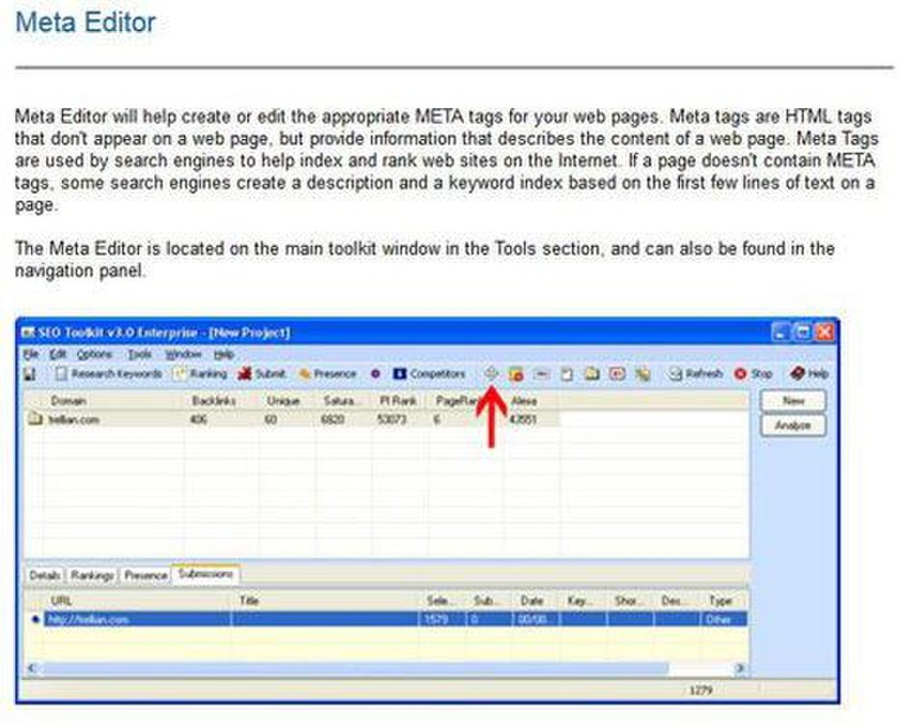 SEO Toolkit image: The metatag editor gives suggestions and makes edits on your metatags, which search engines use to find and rank your site.