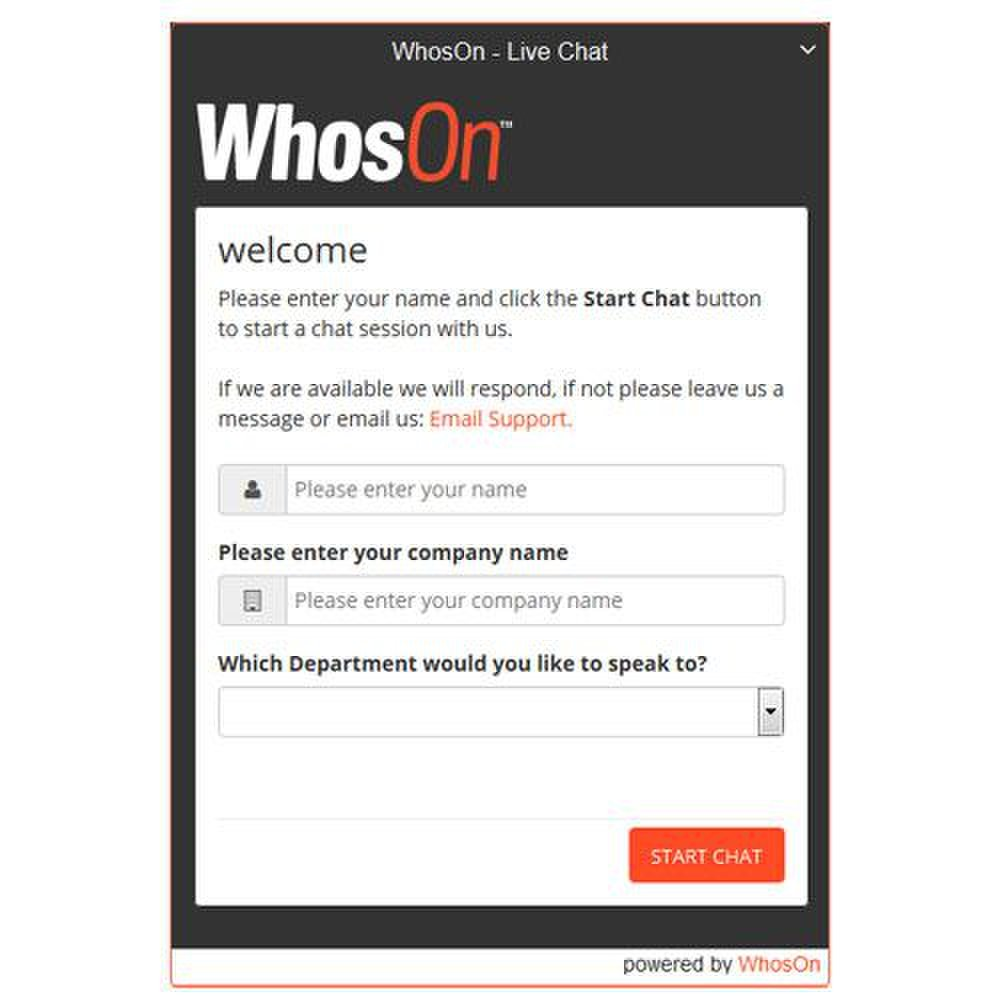 WhosOn image:  This is an example of a WhosOn live chat window.