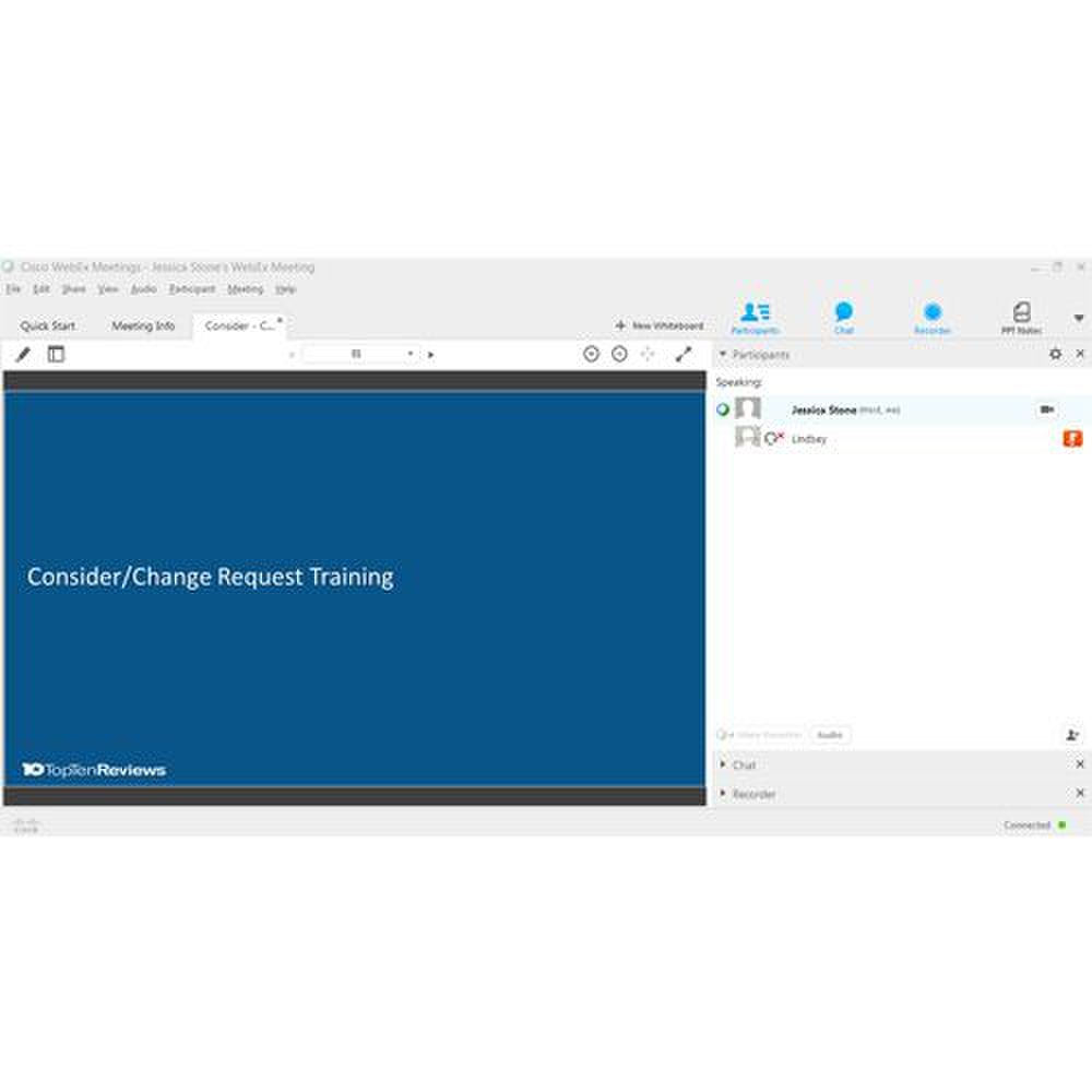 Cisco WebEx image: You can change the look of your webinar room by adding or removing panels.