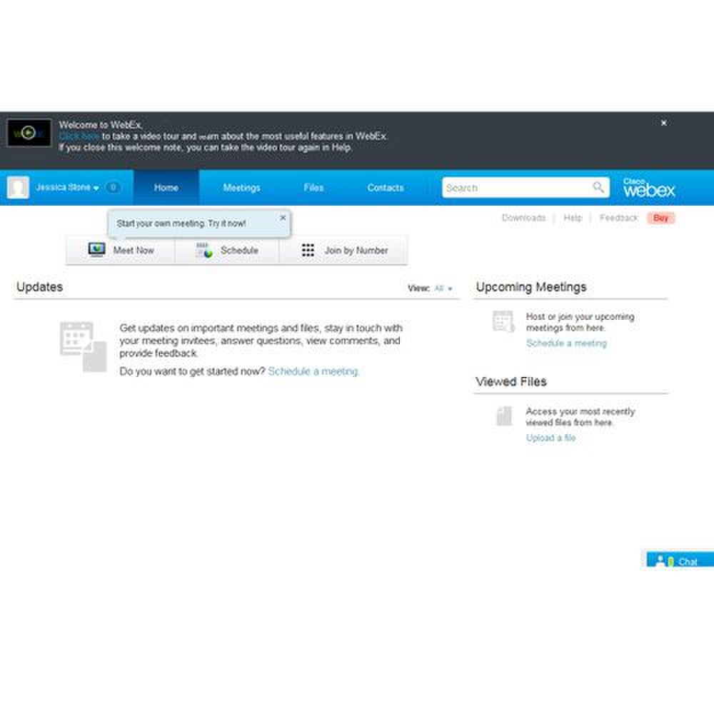 Cisco Webex image: The dashboard displays important information about your upcoming meetings.