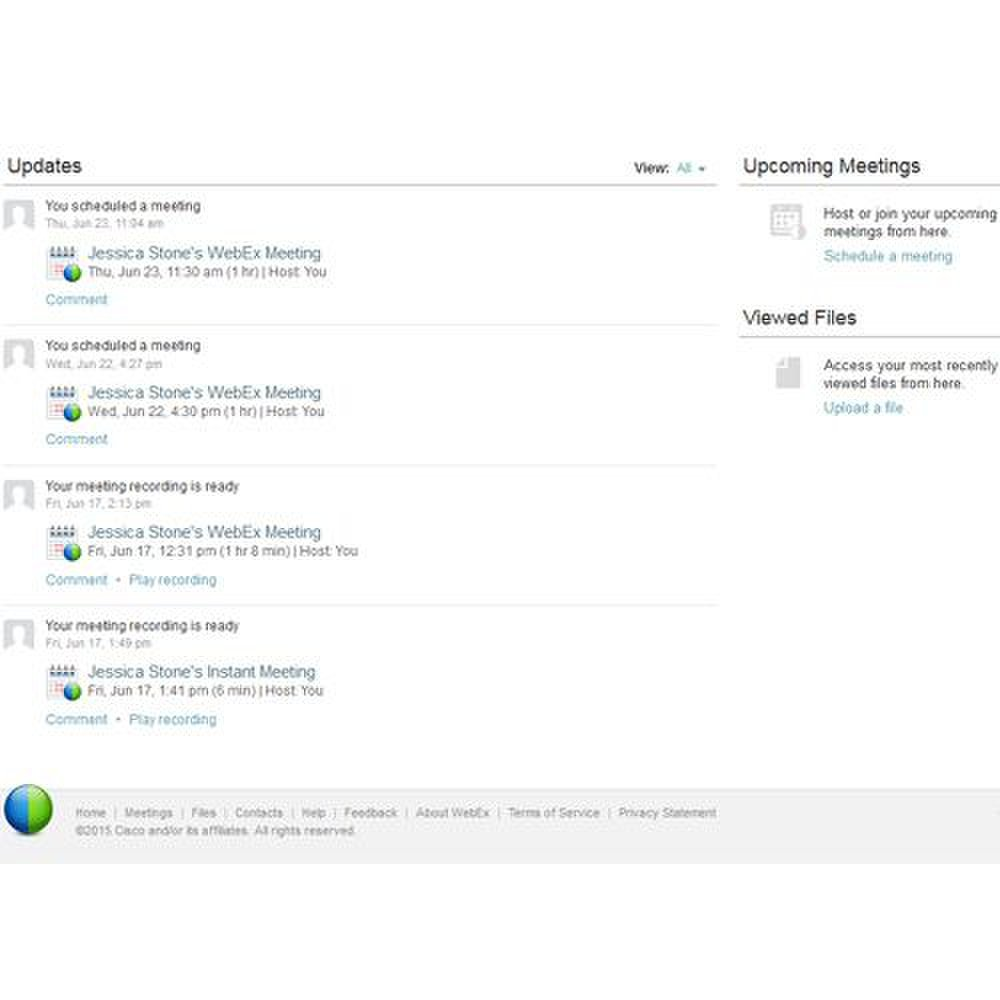 Cisco Webex image: You can either schedule webinars ahead of time and send out invitations or hold an instant meeting where you share a link to the meeting with attendees.