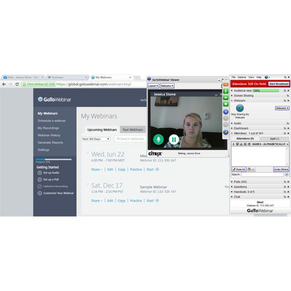 GoToWebinar image: With a free-floating interface, it is much easier to share your screen or application with the audience.