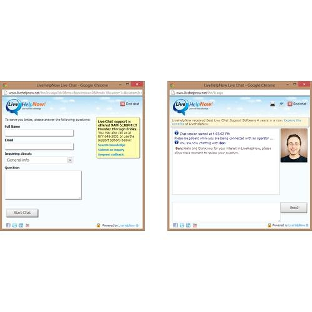 LiveHelpNow image: The chat windows in this application are fully customizable.
