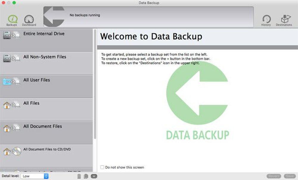 The column of tabs on the left houses the various backup options.