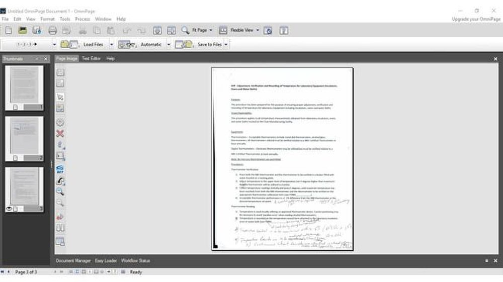 OmniPage image: You can view your document using the Page Image tab and the Text Editor tab depending on what you are doing.