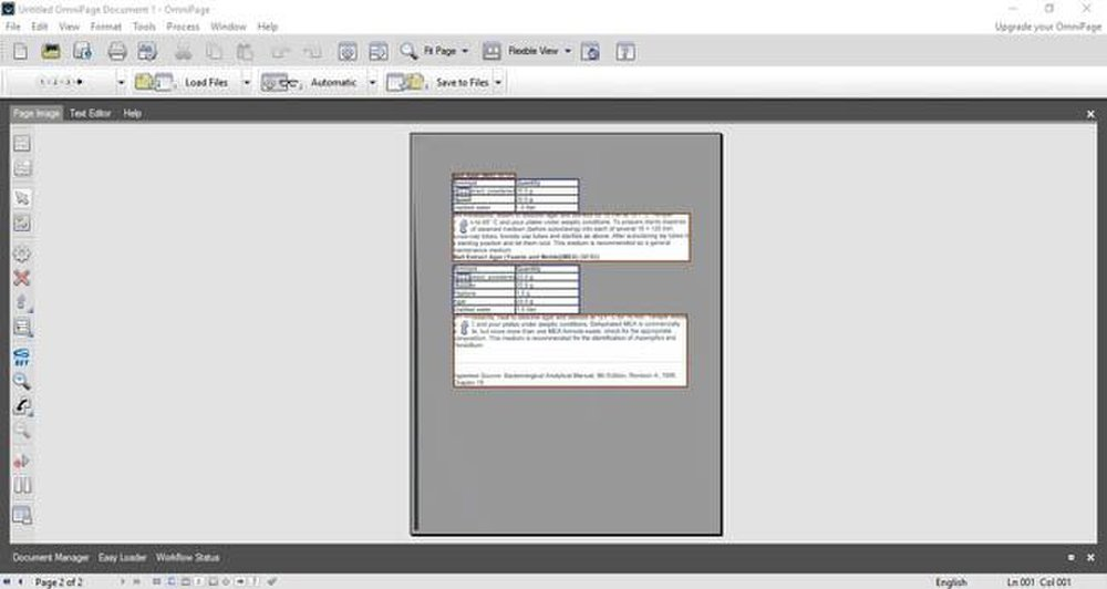 OmniPage image: The software automatically places text into boxes so you can easily edit the formatting.