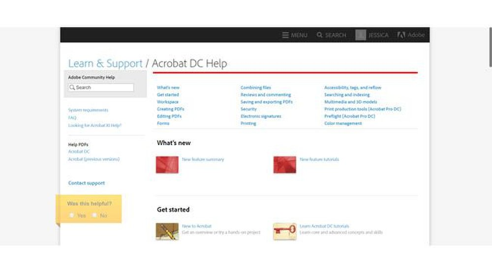 Adobe Acrobat image: You can access the software's knowledgebase on the company's website.