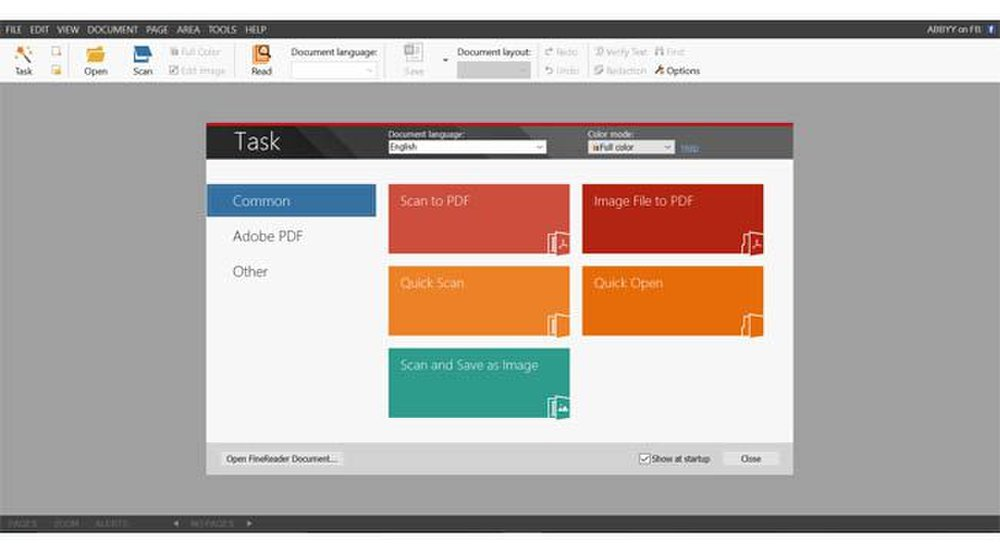 When you open the program, you can use the taskbar to quickly access the tools you need.