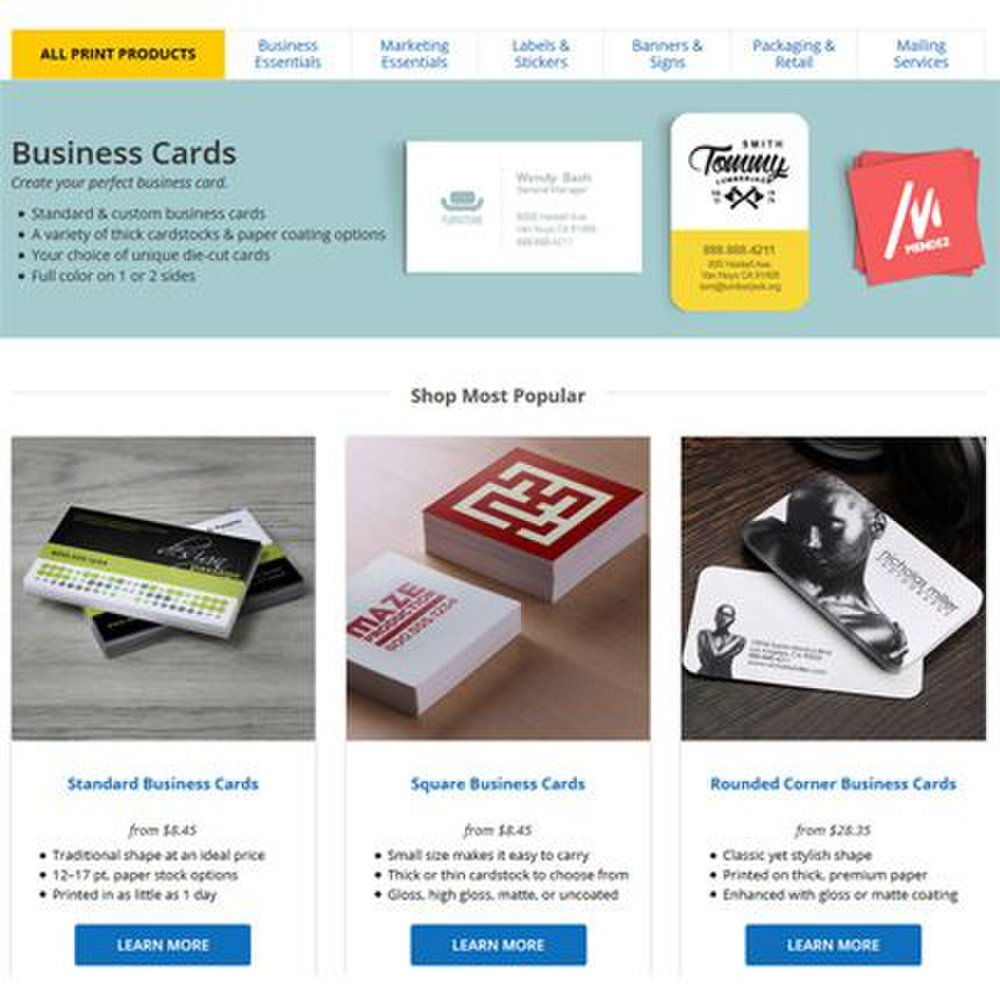 UPrinting image: This service has several specialty shapes you can use for your business card to help it stand out.