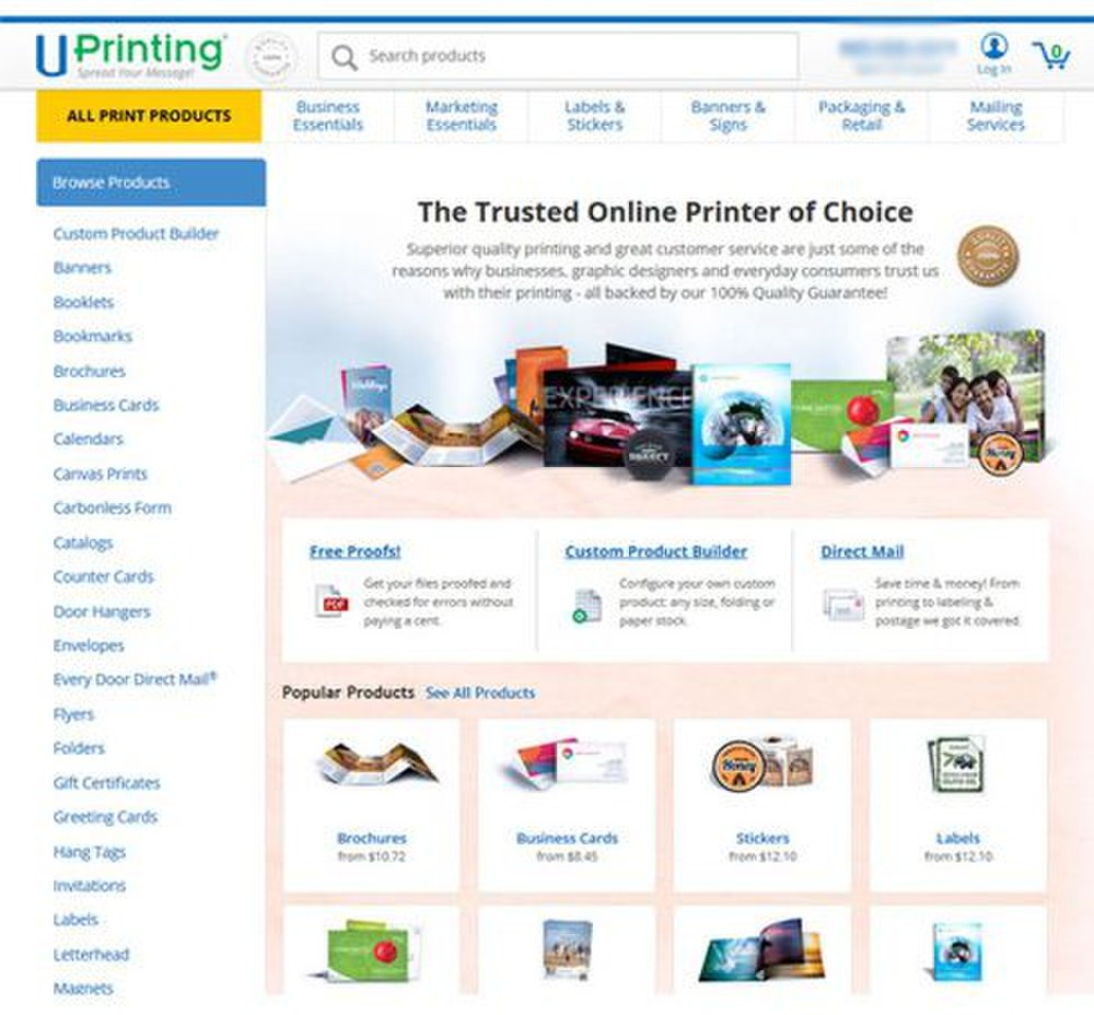 UPrinting image: In addition to business cards, this service offers printing options for a variety of other business-related products.
