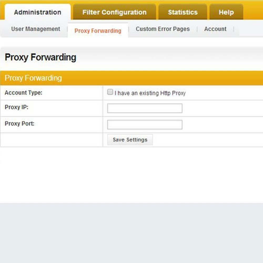 Cyclope Internet Filtering Solutions image: The proxy Forwarding tab is where you can redirect users to a page of your choosing.