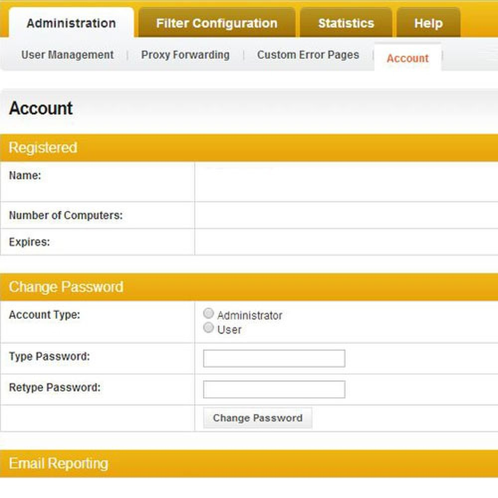 Cyclope Internet Filtering Solutions image: The Account tab is where you create user identities for individualized filter settings.