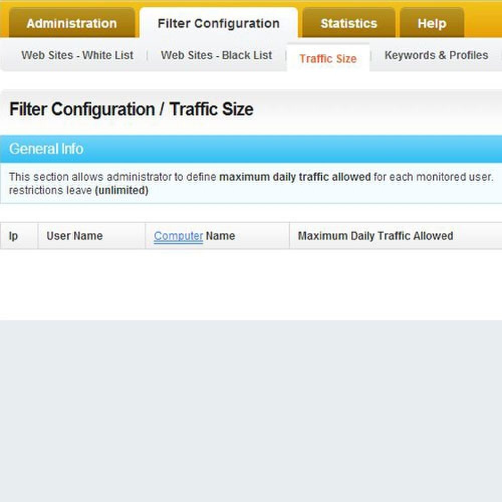 Cyclope Internet Filtering Solutions image: The Traffic Size tab allows you to proactively throttle monitored users.