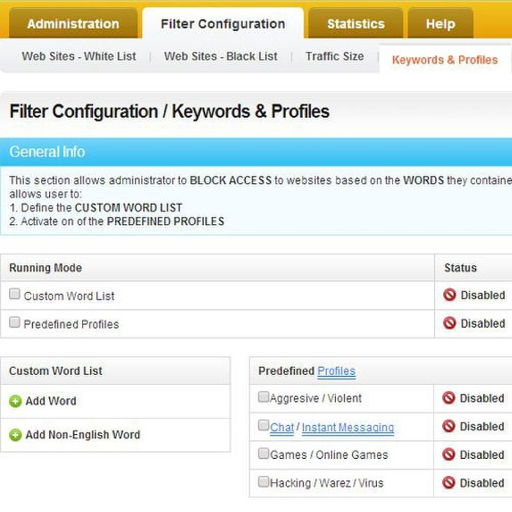 Cyclope Internet Filtering Solutions image: You can create custom word list for keyword search blocking.