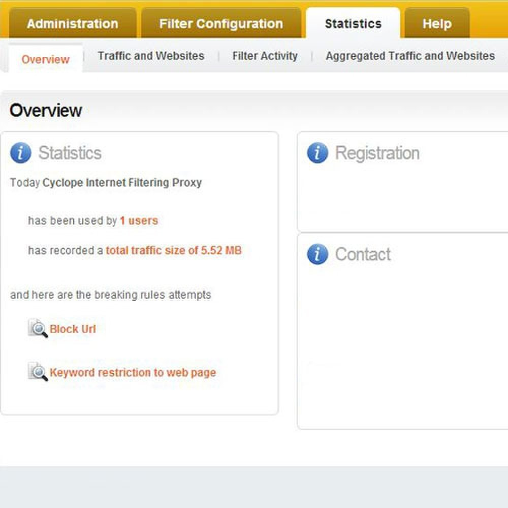 Cyclope Internet Filtering Solutions image: The Overview tab allows you to view the overall statistics of user groups on your network.
