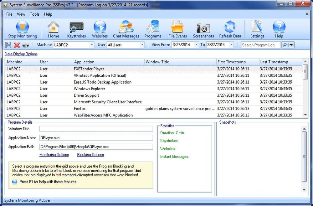 System Surveillance Pro image: The Programs tab details all of the open programs with a summary surveillance report on each.