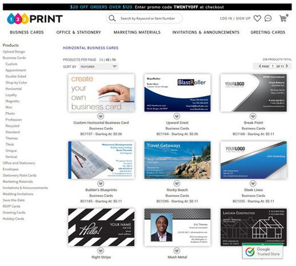 123Print image: With so many templates, you can search for business cards by color, orientation and paper type.