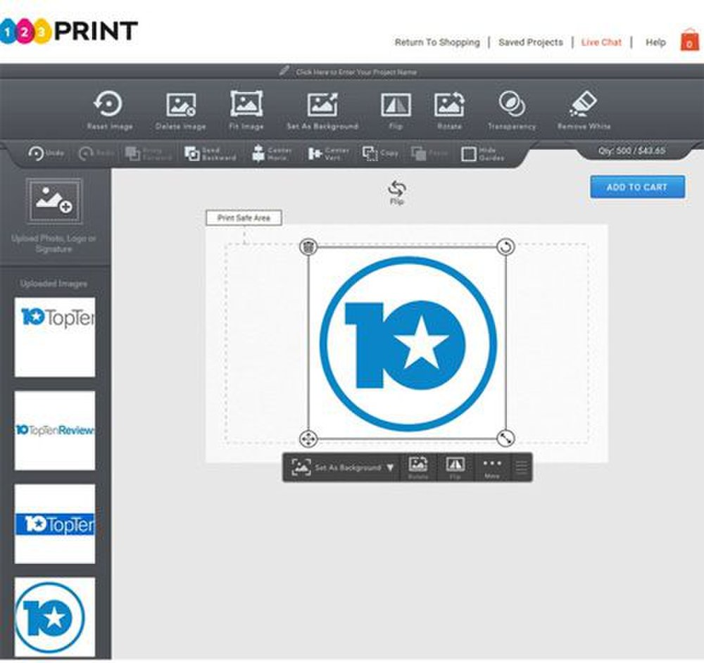 123Print image: The online editor makes it easy to add your company's logo and design to your own business card or a pre-existing template.