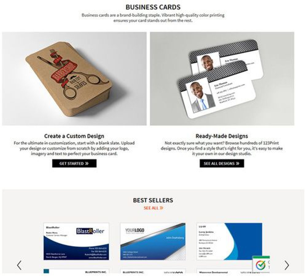 123Print image: Whether you are creating your own business card or using a template, this site is easy to navigate to find a business card suitable for your company.