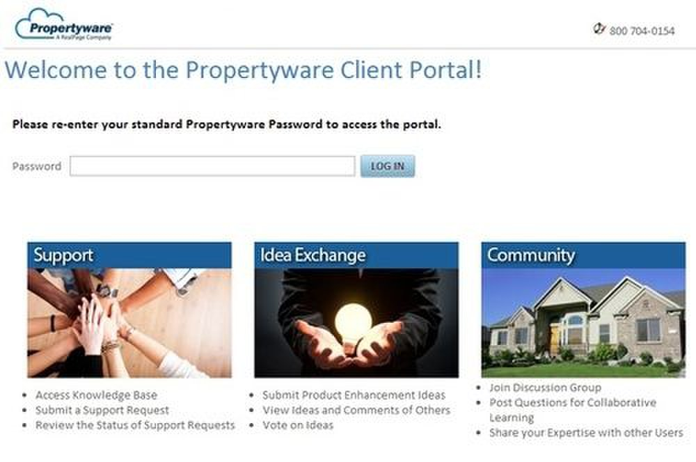 Propertyware image: The Client Portal is where you find access to customer support, a knowledgebase and a forum for other clients.
