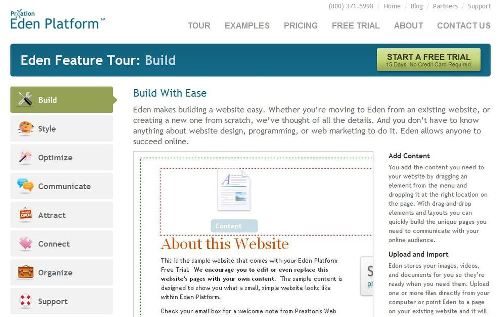 This image displays the Preation Eden Platform website, which offers a tour full of helpful information on using their service.