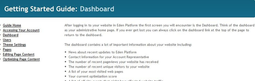 This image shows the Dashboard, which is the landing page when you log in to Preation Eden Platform.