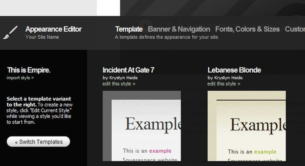 This image shows some of the template options of Squarespace. You can manipulate these templates and make them your own.