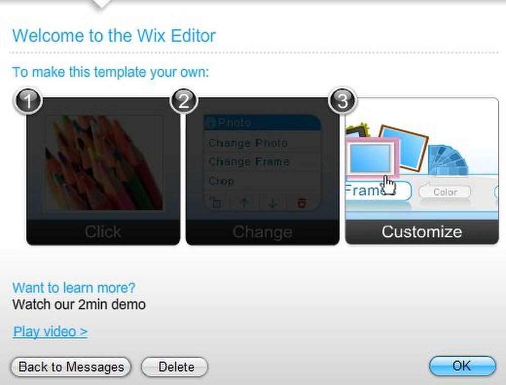 This image displays the different ways you can adjust the templates when using Wix Premium.
