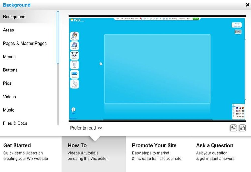 This image of the Wix Premium interface shows a blank page ready for content.