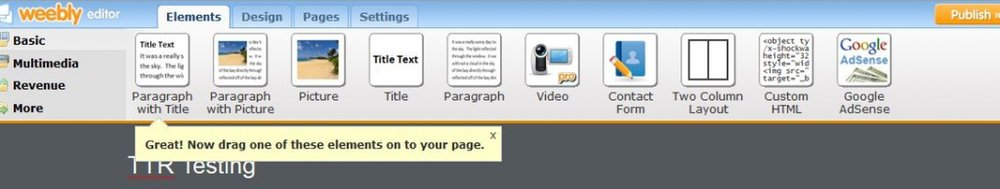 This image shows the top of the Weebly Pro page, where you can drag and drop whatever content you want onto the page.