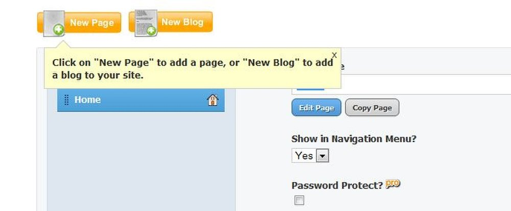 This image shows the helpful text bubbles that pop up when you're first using Weebly Pro.