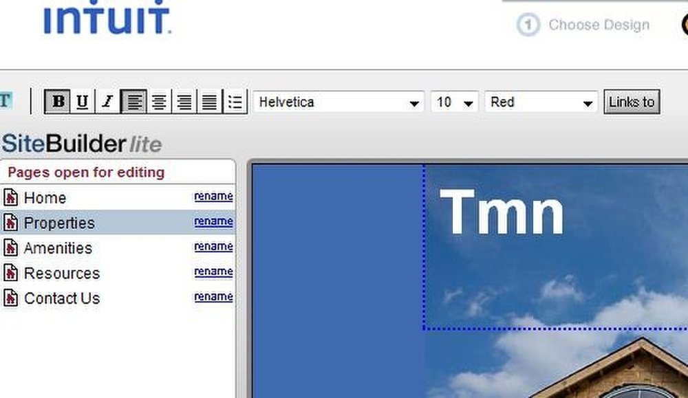 This image displays the photo uploading page of Intuit Web Builder.