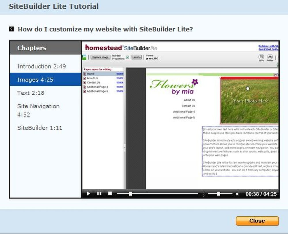 This image shows one of the many video tutorials offered by Intuit Web Builder.