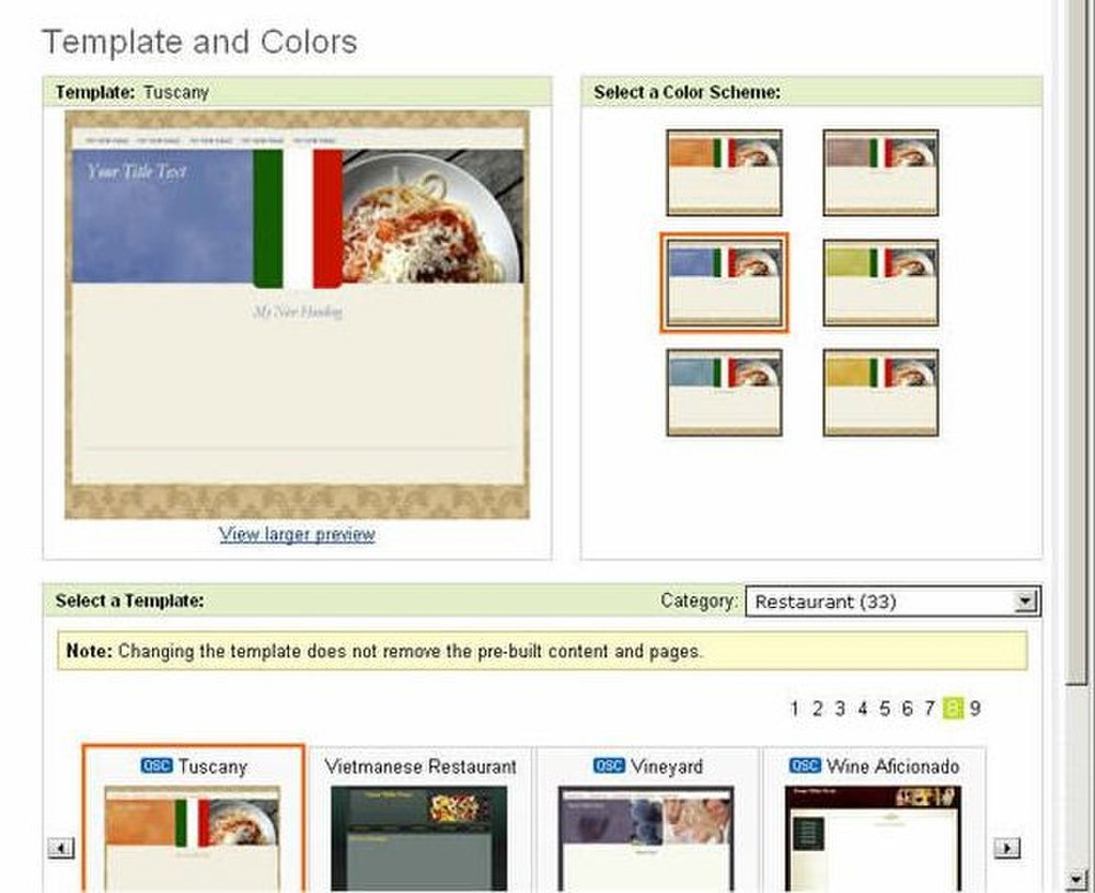 This image displays some of the different templates Go Daddy Website Tonight features.