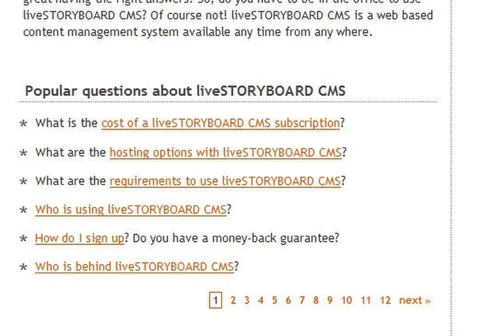 This image shows the FAQs page on the liveSTORYBOARD website, which makes you click through page after page to find your answers.